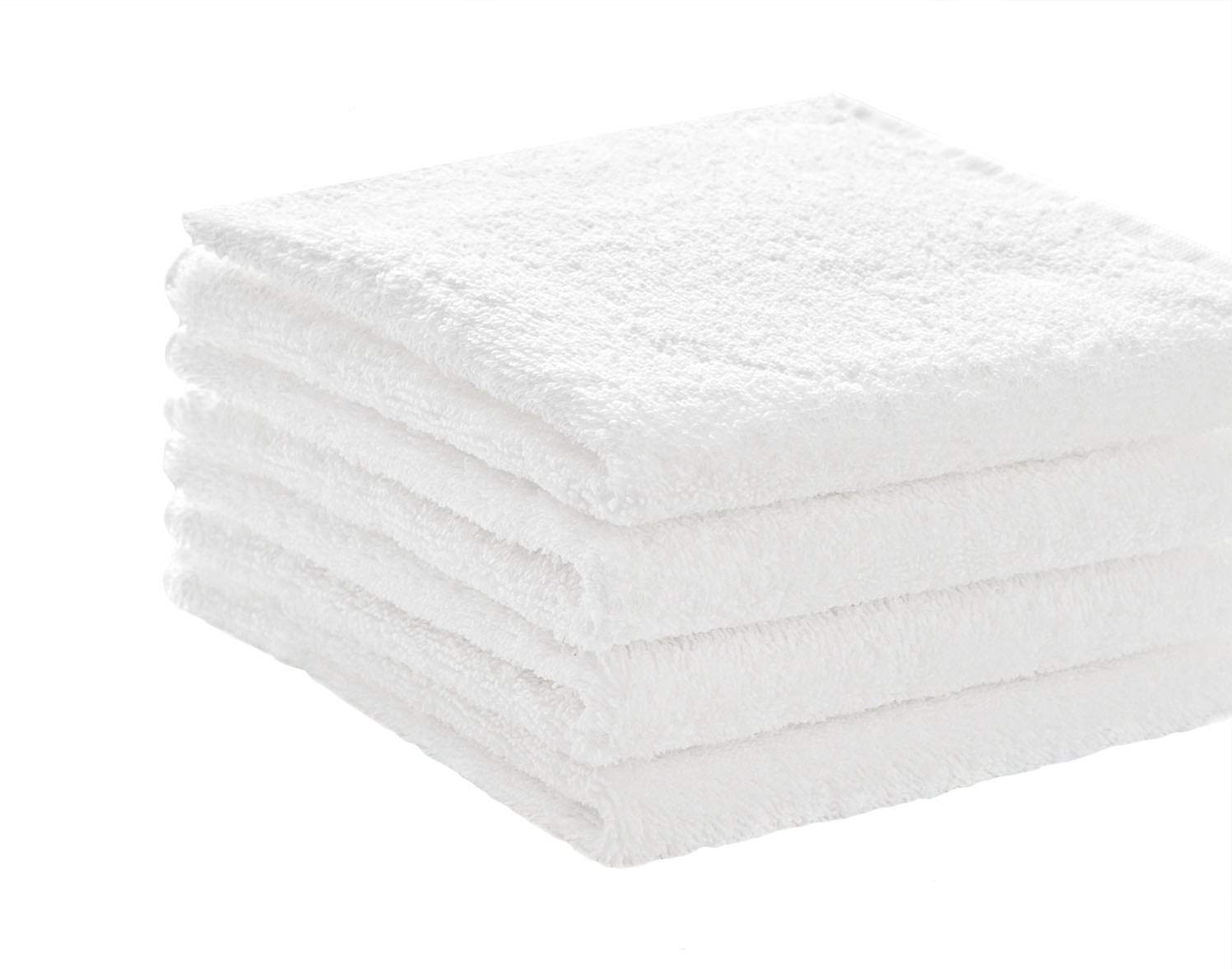 Pacific Linens Soft Absorbent Ringspun Cotton 19.5-Inch-by-31-Inch Hand Towel, White (Pack of 4)