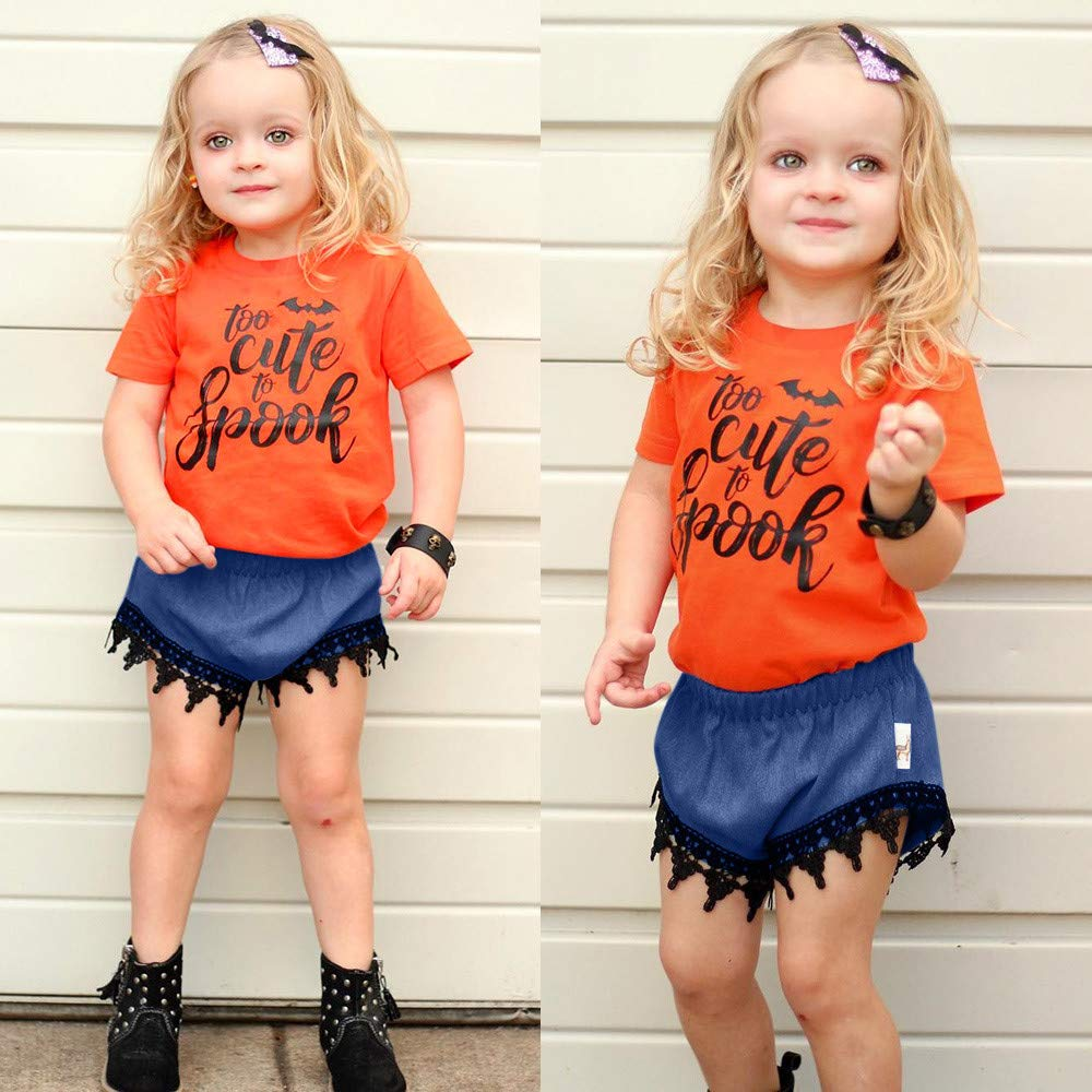 KaiCran Little Girls Cotton Short Sets Letter Print Short Sleeve T-Shirt Tops+Lace Shorts Halloween Outfits Clothes Set
