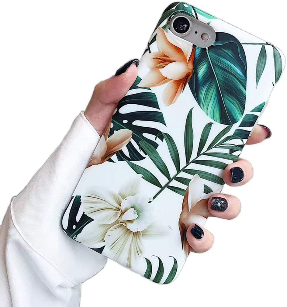 SUBESKING Compatible iPhone 6 Plus Case/iPhone 6s Plus Case,Cute Slim Fit Soft TPU White Floral and Green Leaves Pattern Protective Phone Cover Cases for Women Girls (White Flowers)