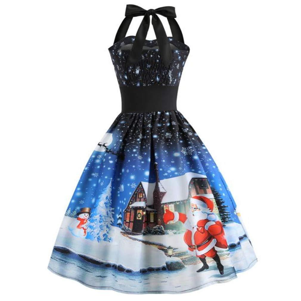 Fantaisiez Robe de Noël Femmes Imprimé Robe de Balançoire Robe de Soirée Cou Suspendu Licou sans Manches Robe de Festival Bleu S-XXL
