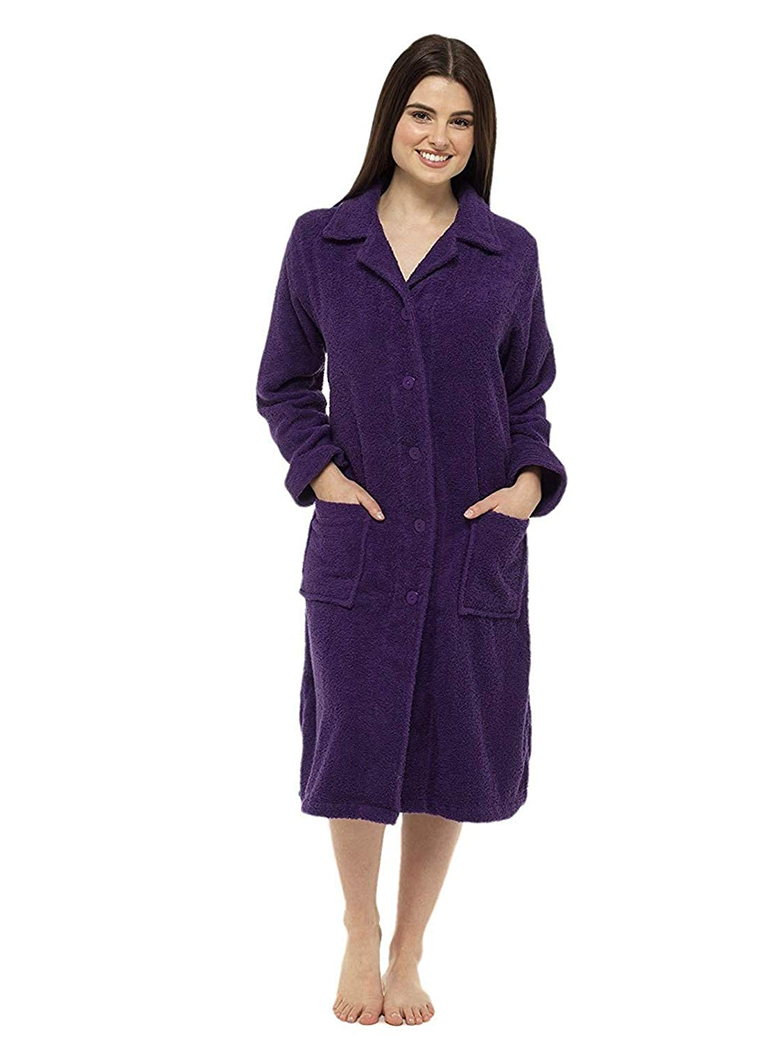 9cf3c32f5c Towelling Bathrobes 100% Cotton Dressing Gown for Women Button Through or  Zip Up Towel Bath Robe for Ladies - Great Zip Towel Bathrobe  Amazon.co.uk   ...