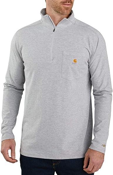 Carhartt Force - Camiseta de manga larga con bolsillo con cremallera para hombre