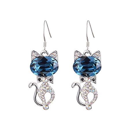 60dac74ae4490 CJH S925 Silver Needle Cat Animal Earrings Temperament Personality ...