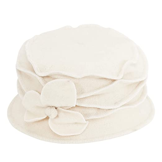 5741b9a26 Sun N' Sand Women Wool Soft Cloche Hat with Floral Trim 899 (Ivory ...