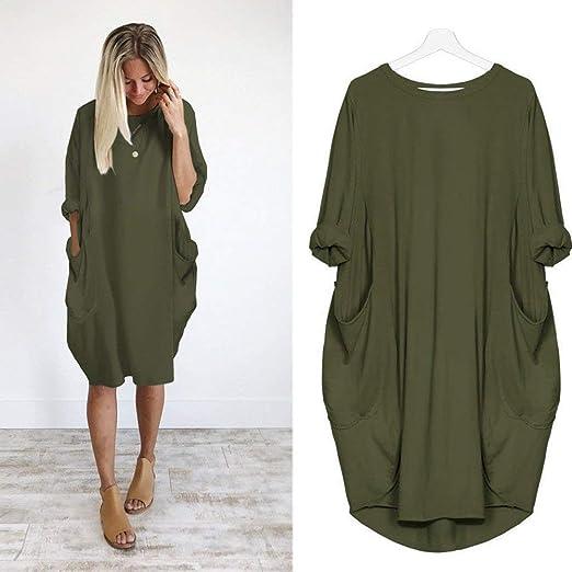Amazon Com Realdo Women Dress Crewneck Loose Long Sleeve Tops