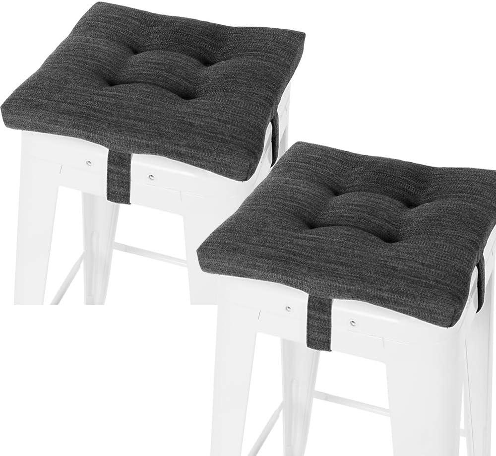 Baibu Set Of 2 Square Seat Cushion Super Soft Bar Stool Square Seat Cushion With Ties Cushion Only Gray Black 12 30cm 2pc Kitchen Dining