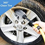 Extendable Car Wheel Cleaning Brush, Car Washing Brush Cleaner Tire Wheel Brush Drill Cleaning Tool, Professional Non-Scratch Brush for Wheels, Rims, Motorcycles, Bicycles