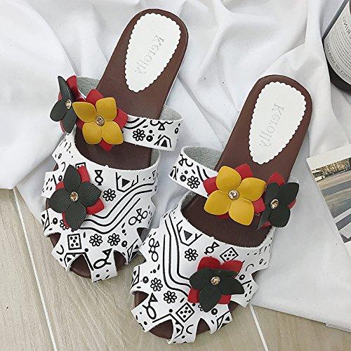 ITTXTTI Zapatillas Mujeres Nueva Mitad de Arrastre Vacío Baotou Ropa Plana Fuera de la Moda Zapatos de Mujer Respirables Simples Zapatos literarios guapos B