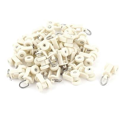 Plástico Blanco Riel Cortina Raíl Rodillos 12mm Rueda De Diámetro 40 Unidades
