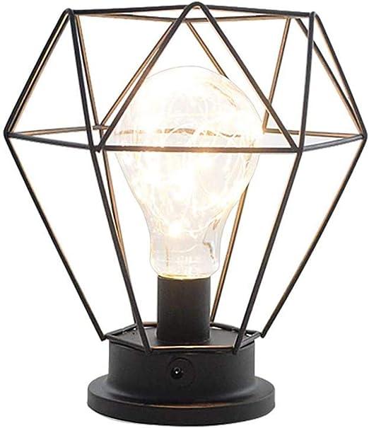 gengxinxin Lámpara de Mesa de Jaula Retro lámpara de Mesa con Pilas Sala de Estar Dormitorio Oficina mesita de Noche y lámpara de Mesa Negro: Amazon.es: Hogar