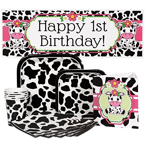 Cow 1st Birthday Girl Party Package for 16 Guests (Cow Girl Party Decorations)
