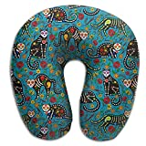 FJFASHION Mexican Style Skull Black Cats U Type Travel Pillow Relief Neck Pain Pillow Memory Foam Neck Pillow Relax Pillow