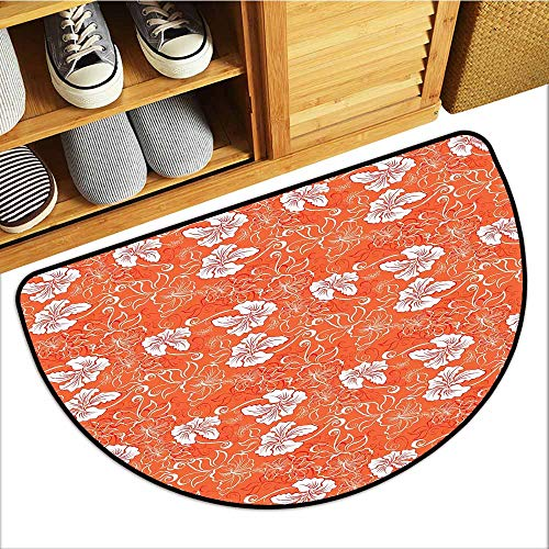 (Axbkl Waterproof Door mat Orange Hawaiian Pattern with Tropical Climate Hibiscus Flowers Abstract Summer Flourish Easy to Clean W31 xL20 Orange White)