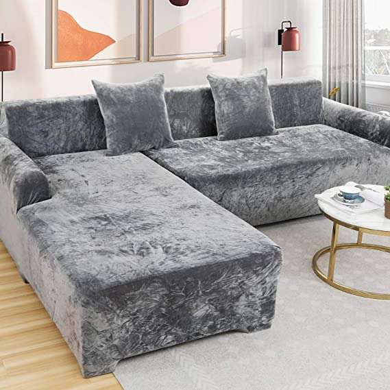 AMYDREAMSTORE Plush L Shape Sofa Cover