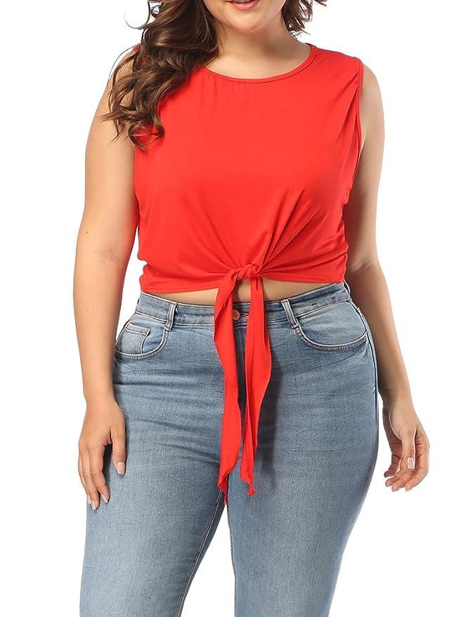 Allegrace Women's Plus Size Casual Sleeveless Round Neck Crop Top Summer Self Tie T Shirts Best Crop Tops