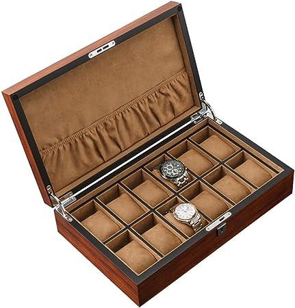 ZHENDER Piel Sintética Caja de Relojes Estuche Hombres Mujeres 12Compartimentos, Cuero Portable Estuche Exibidor/Exhibición para Relojes Organizadora de Relojes de Mejor Regalo(36 x 22 x 9 cm): Amazon.es: Hogar