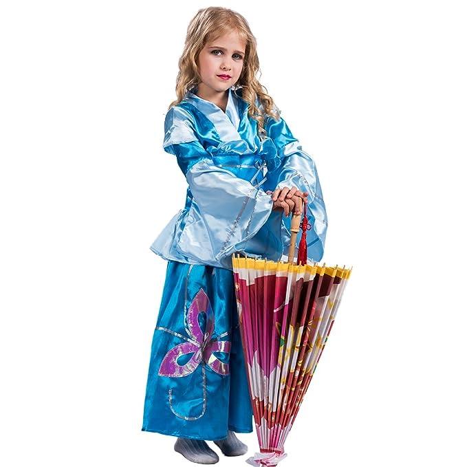 EraSpooky Vestido de Princesa Tradicional Japonesa de Kimono Azul para Niña(Azul, Small)