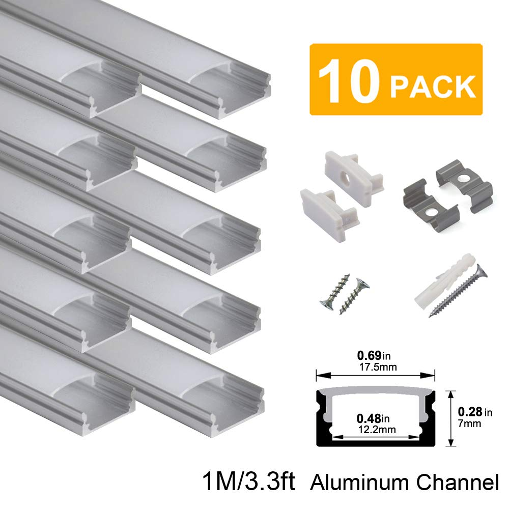 hunhun 10-Pack 3.3ft/1Meter U Shape LED Aluminum Channel System With milky Cover, End Caps and Mounting Clips, Aluminum Profile for LED Strip Light Installations, Very Easy Installation by hunhun