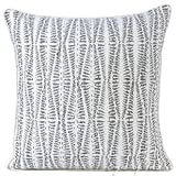 Eyes of India - 16'' Grey Kantha Gray Decorative Pillow Throw Sofa Cushion Cover Couch Indian Colorful Boho BohemianCover Only