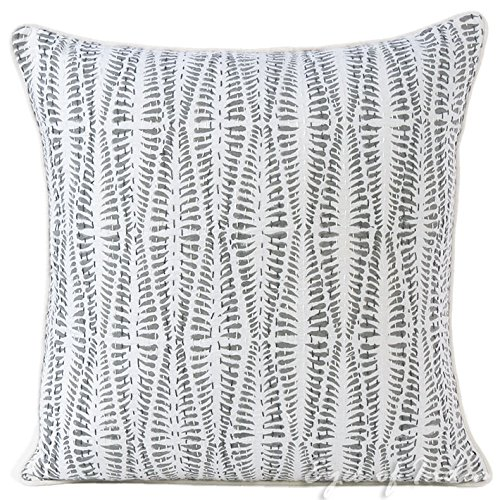 Eyes of India - 20'' Gray Grey Kantha Decorative Pillow Throw Sofa Cushion Cover Couch Colorful Boho Bohemian IndianCover Only by Eyes of India