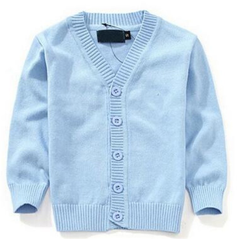 Winyersnow Sweaters Candy-Colored Baby Boys Girls Single-Breasted Jacket Outer Wear Sky Blue 3T