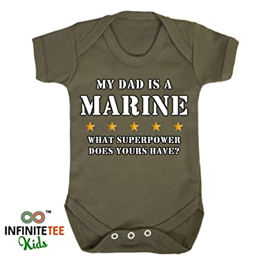 6914eaee My Dad Is A Marine Baby Grow Vest - Newborn Army Superpower Hero Christmas  Gift Khaki (12-18 Vest): Amazon.co.uk: Clothing