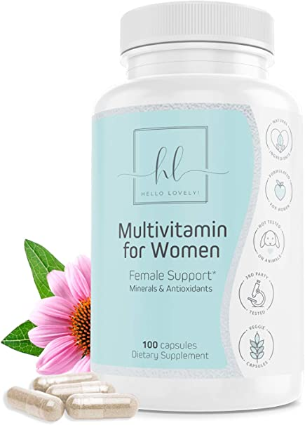 Women's Daily Multivitamin and Multimineral Supplement, Extra Strength with Biotin 1000mg - Made in USA - Vitamins A B C D E, Calcium, Zinc, Magnesium, Folic Acid - Natural, Non-GMO - 100 Capsules