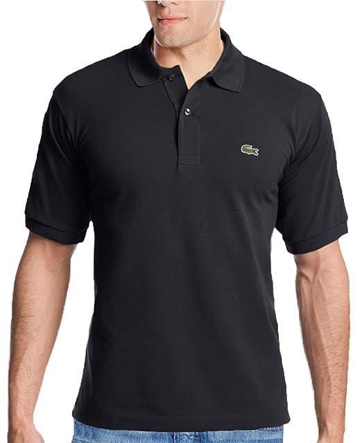 9890b1d71cb74 Lacoste Men s 2 Button Croc Pique Mesh Polo Shirt-Black-Small ...