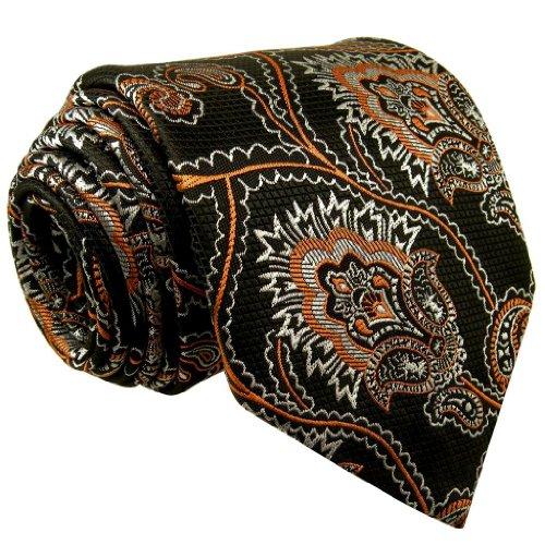 Shlax & Wing Mens Ties Neckties Paisley Black Orange 100% Silk Jacquard Woven Handmade
