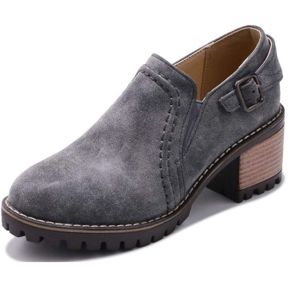 Womens Chunky Heel Ankle Booties Classic Buckle Fashion Round Toe Slip-On Wingtip Oxford Shoes