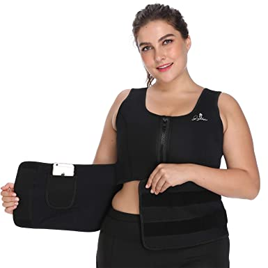610bd1d6472 Womens Waist Trainer Corset Pocket Cincher Belt Neoprene Sauna Workout Body  Shaper Sweat Vest (Black