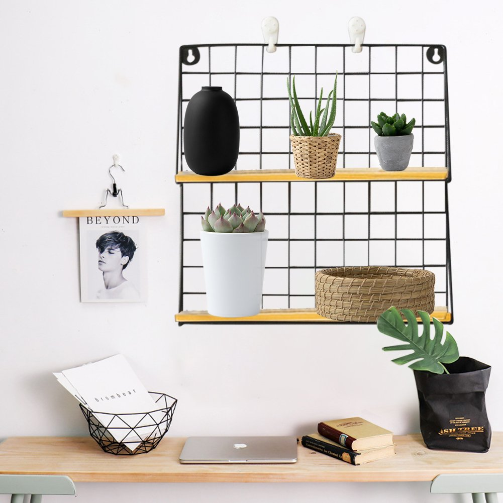 Alian Simple Iron Wall-mounted Bookcase Shelf Decorative Innovative Wall Coat Hanger Hexagon Shelf ,Wall Shelf for Bedroom, Living Room,Office and More