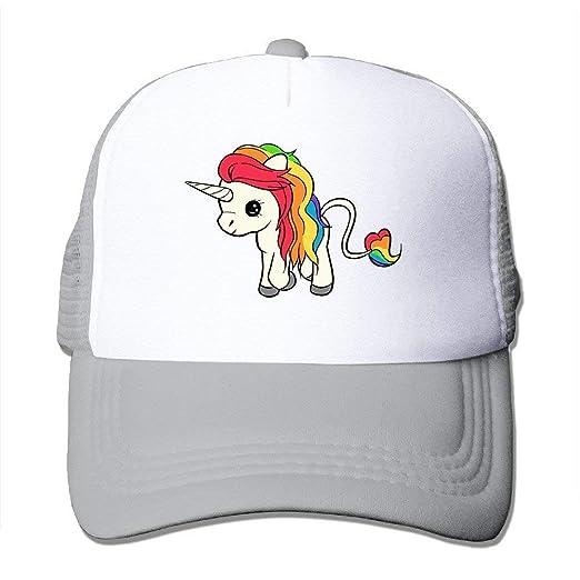 152107e50ec62 Image Unavailable. Image not available for. Color  NVJUI JUFOPL Toddler  Girls Rainbow Unicorn Baseball Snapback Cap Trucker ...
