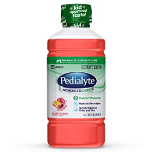 Pedialyte AdvancedCare Electrolyte Solution with PreActiv Prebiotics, Hydration Drink, Cherry Punch, 1 Liter