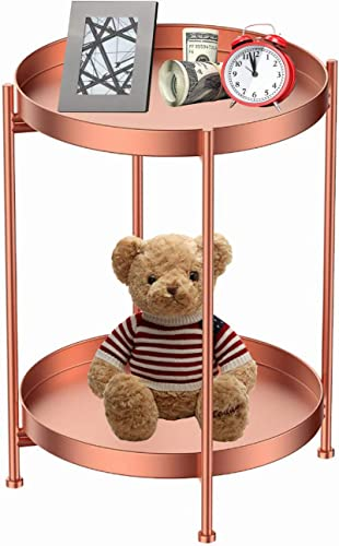Round Side Table Rose Gold Metal 2 Tier Tray Metal End Table