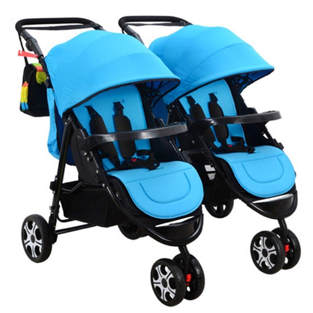 HAIZHEN マウンテンバイク ツインベビーベビーカーライクラファブリック調整サンシェードの登りショックアブソーバ4つの車輪座ることができる/折り畳むダブルトロリー取り外し可能なベビーキャリッジ 新生児 B07DL6C8GD 青 青