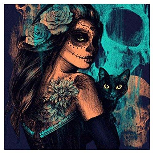 SODIAL 5D DIY Diamond Painting Skull Cats Woman Cross Stitch Horror Halloween Needlework Home Decor Full Round Diamond Embroidery