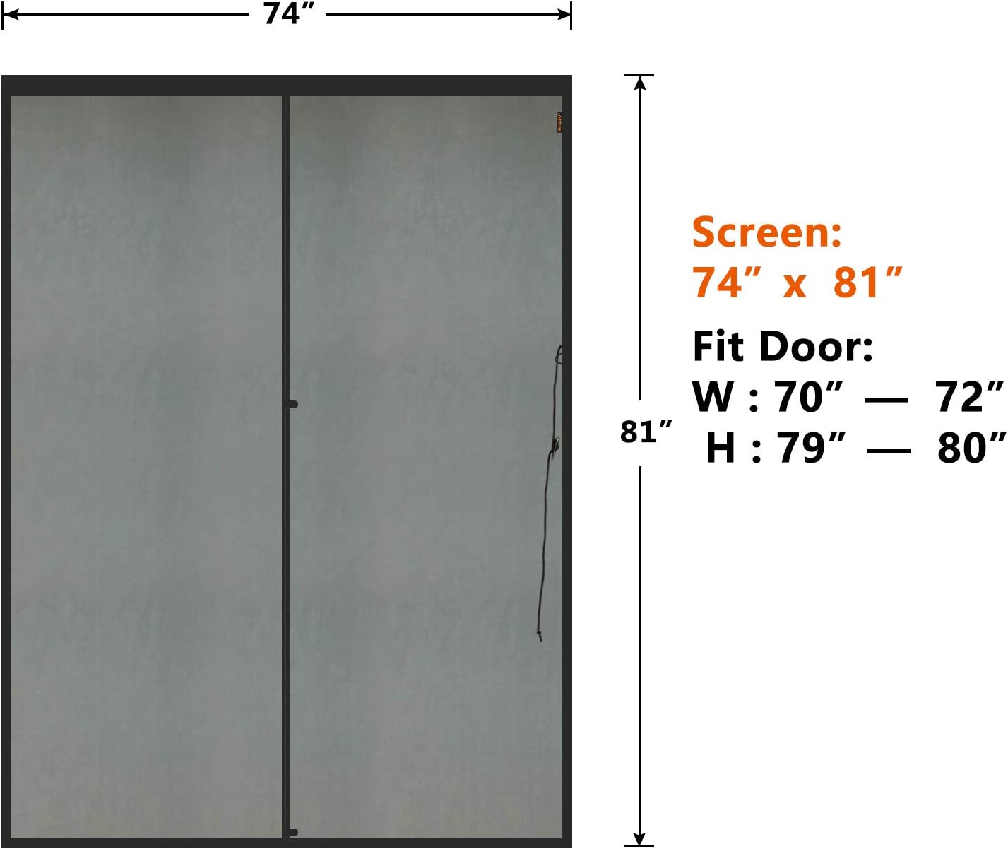Dog Cat Proof Pet-Resistant Thickening Durable Fiberglass Sliding Mesh Screen Curtain with Magnets Fits Door Size up to 72x80 Max MAGZO Pet French Door Screen 72x80 inch