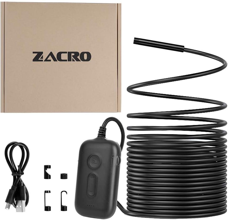 Zacro WiFi Endoskop HD Brennweite mit 8 Einstellbaren Helligkeit LEDS 5M Schwarz 2 Millionen Pixel 3x Zoom Wasserdicht Inspektionskamera Unterst/ützung Passend f/ür iOS Android Smartphones,Tablets