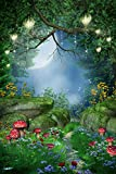 Enchanted Forest Backdrop fairy tale forest spring woods mushroom Cinderella lantern Printed Fabric Photography Background (F0214, 8' wide by 12' tall)