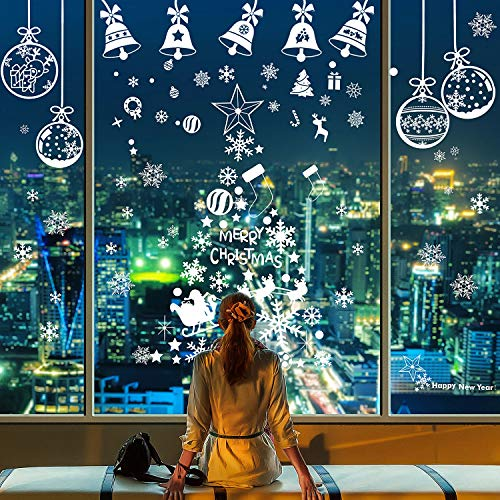 Gejoy 200 Pieces Snowflake Window Clings Stickers White Snowflakes Christmas Clings Decal for Holiday Winter Party Decoration, 10 Sheets Totally ()