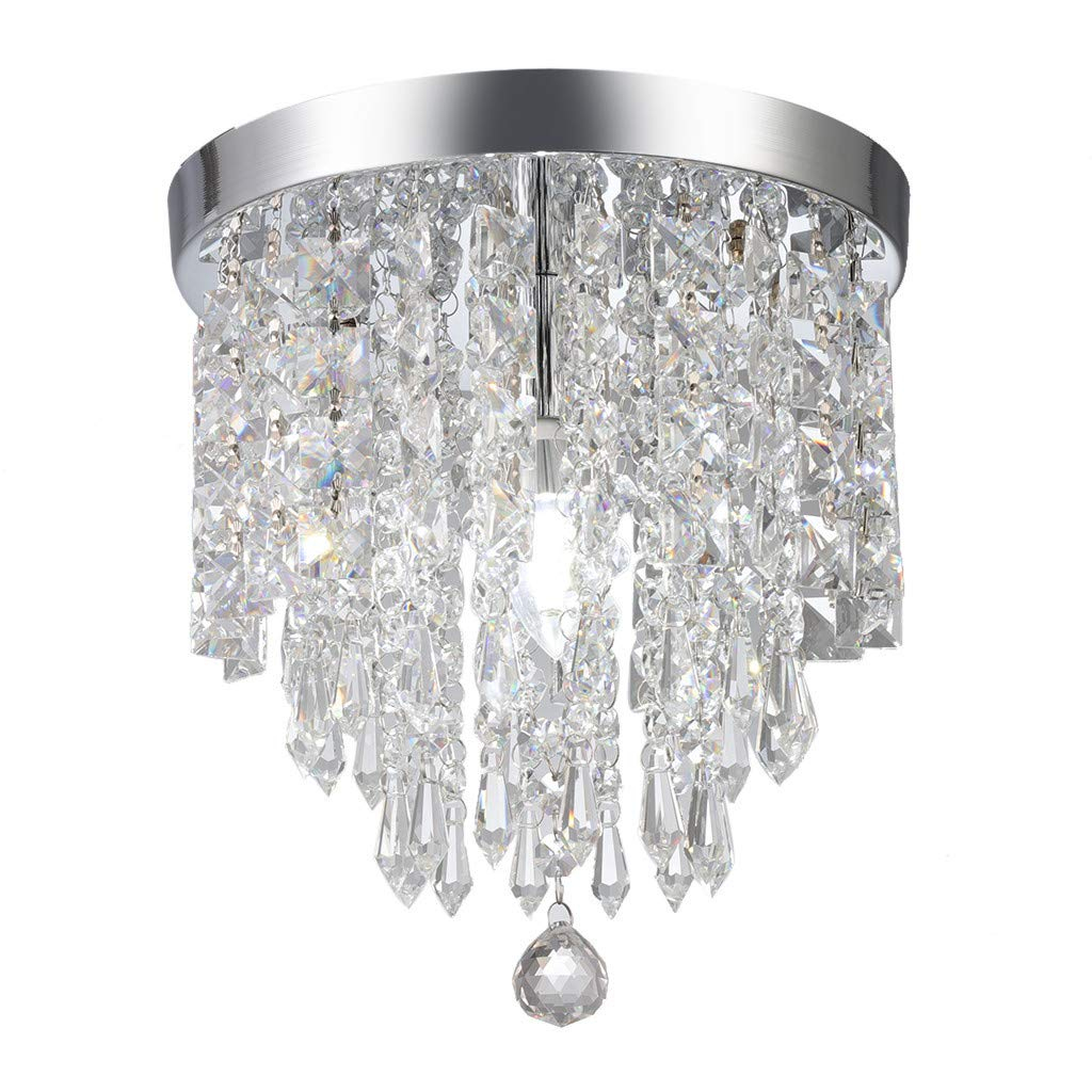 Ceiling Lamp Crystal Chandeliers,SuperUS Crystal Chandelier Pendeant Ceiling Lamp LED Modern Light Home Raindrop Decor (HT.9.84'' X WD.9.8'', Silver A)