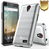 zte prelude phone case cricket - ZTE Maven 3 Case, ZTE Overture 3 Case with [Tempered Glass Screen Protector], ZTE Prelude Plus Case(4G LTE), NageBee [Carbon Fiber Brushed] Defender [Dual Layer] Protector Hybrid Case (Silver)