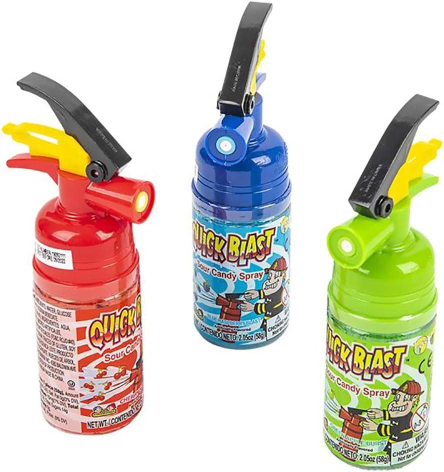 Quick Blast Sour Candy Spray Comes in three different flavors Cherry Splash Blue Raspberry Blast Sour Apple Blast Kosher Certified 2.05 OZ Per Bottle 58 Grams