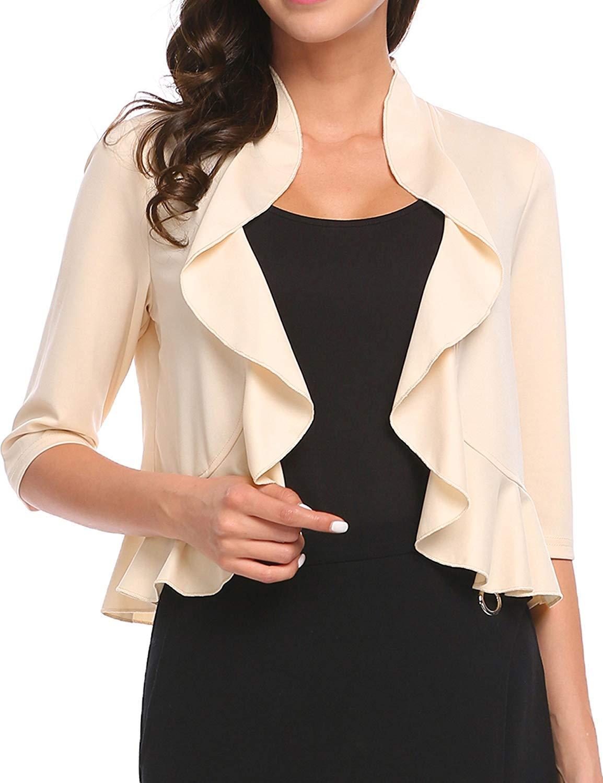 e430846fd7 Women s 3 4 Sleeve Cropped Bolero Shrug Open Front Cardigan (Apricot ...