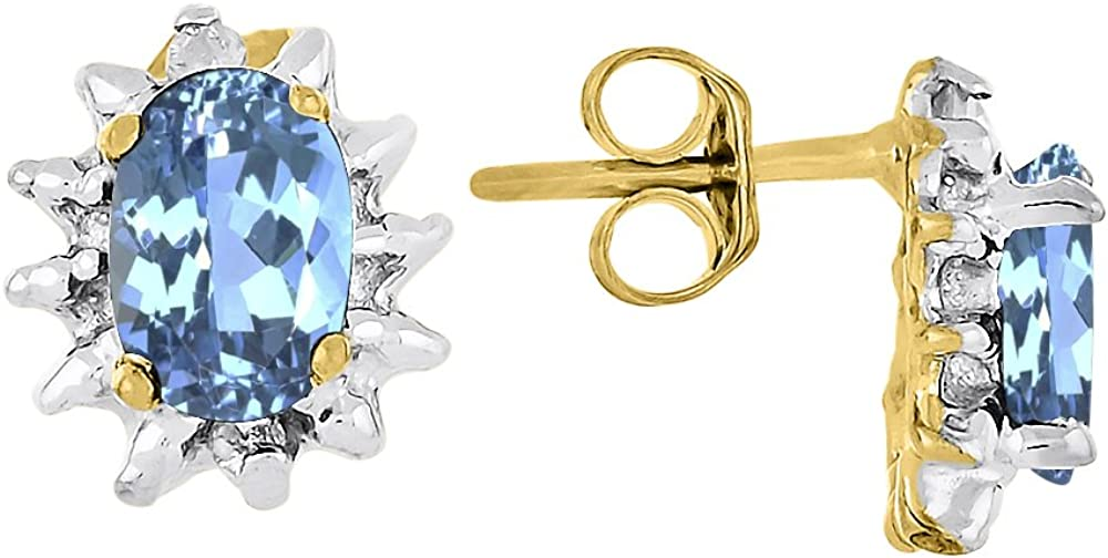 Diciembre Birthstone topacio azul pendientes 14K oro amarillo o 14K oro blanco