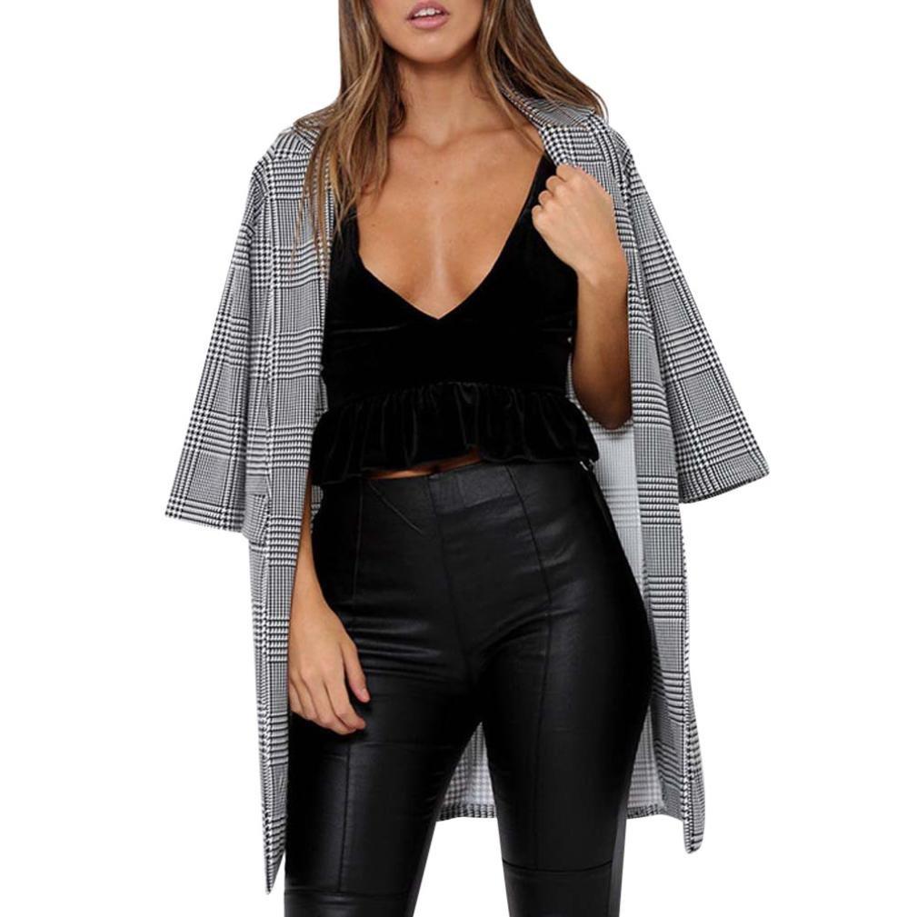 Tsmile Women Cardigan Jacket Coat Fashion Ladies Autumn Winter Casual Plaid Printing Outwear (Black, M)