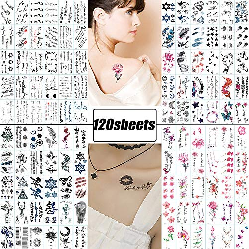 120 Sheets Fake Tattoos Temporary Tattoo Stickers for Women Men Girls Kids Tiny Black Flower Word Sexy Temp Tattoos Small  Body Art Decal Designs for Face Hand Neck Wrist Arm Back Chest Decorations ()