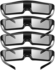 Elikliv KX-60 3D Active Shutter Glasses, 4Pack Rechargeable 3D Glasses Compatible with Epson Projector, Sony Panasonic Samsung 3D TVs, PowerLite Home Pro Cinema