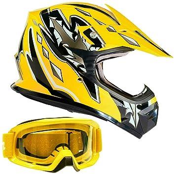 Juventud Offroad Gear Combo casco y gafas de lunares Motocross ATV Dirt Bike MX motocicleta amarillo